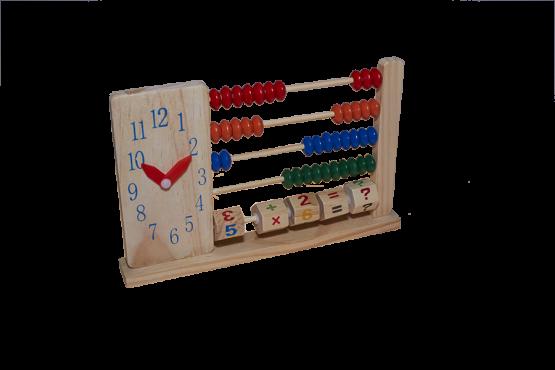 Ábaco de madera con reloj