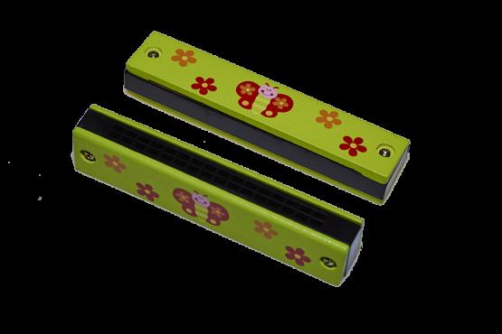 Armónica para niños verde con dibujos de mariposa