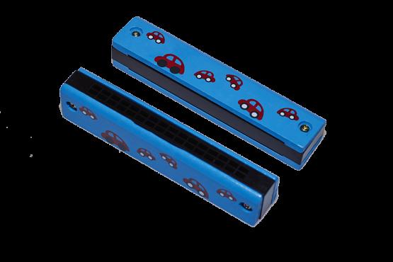 Armónica de madera azul con dibujos de coches