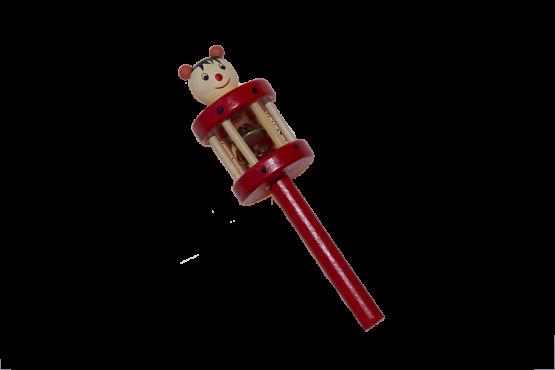 Sonajero de madera con un cascabel y una mariquita