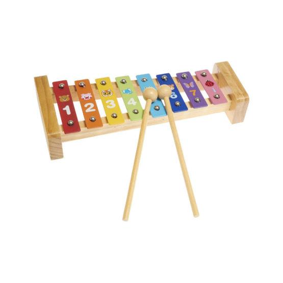 Xilófono de madera de números y colores
