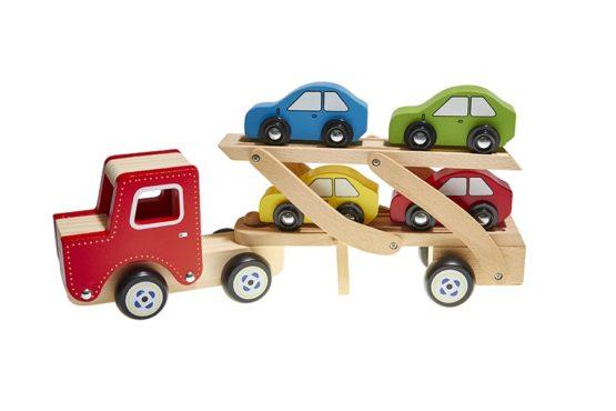 Camión con coches madera