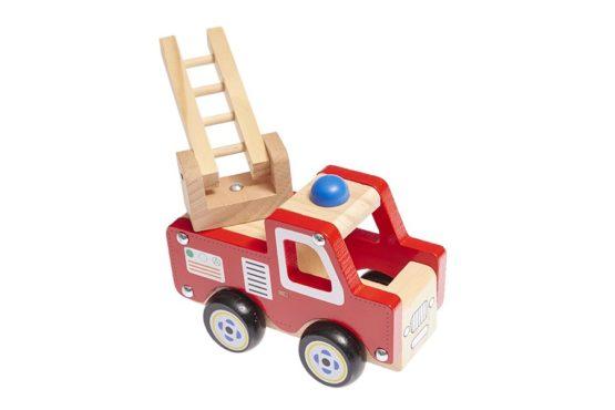 Camión de bomberos de madera rojo