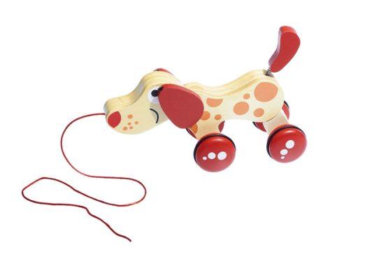 Arrastre infantil de madera en forma de perro
