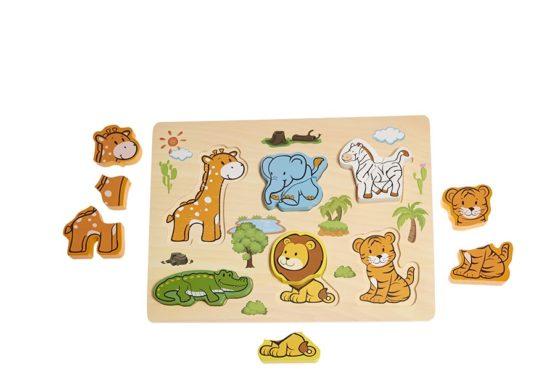 Encajable de madera de animales