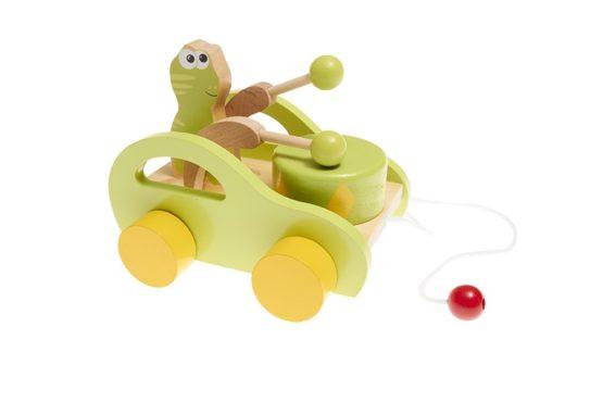Arrastre de madera musical con coche, tambor y rana