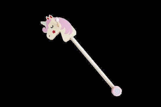 Unicornio de palo rosa para niños